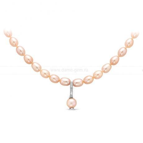 Ожерелье с кулоном из розового рисообразного речного жемчуга 7,5-8 мм. Артикул 9941