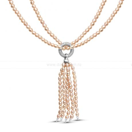 Ожерелье из розового рисообразного жемчуга с кулоном из серебра. Артикул 9943