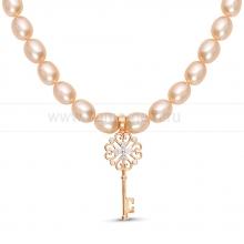 Ожерелье из розового рисообразного жемчуга с кулоном из серебра. Артикул 9944