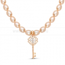 Ожерелье с кулоном из розового рисообразного жемчуга 7,5-8 мм. Артикул 9944
