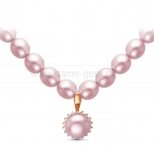 Ожерелье с кулоном из рисообразного лавандового жемчуга 7,5-8 мм. Артикул 9945