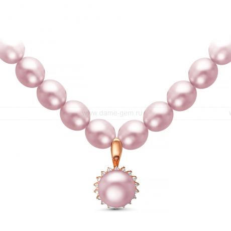 Ожерелье из лавандового жемчуга с кулоном из серебра. Артикул 9945