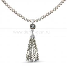 Ожерелье в кулоном из серого круглого речного жемчуга 6-6,5 мм. Артикул 9946