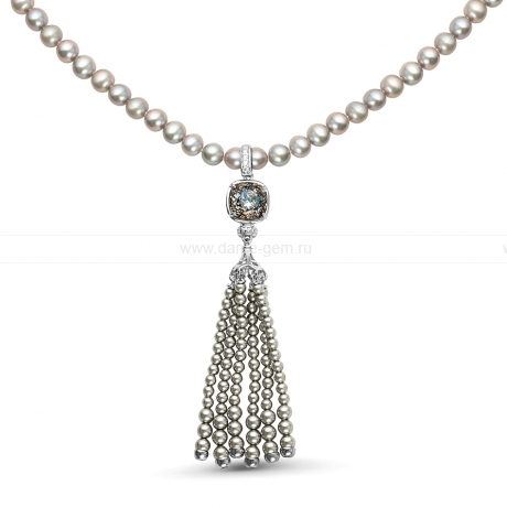 Ожерелье из серого речного жемчуга. Артикул 9946