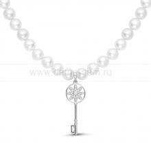 Ожерелье c кулоном из белого круглого речного жемчуга 8-8,5 мм. Артикул 9953