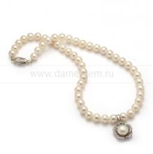 Ожерелье с кулоном из белого круглого речного жемчуга 8-8,5 мм. Артикул 9954