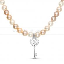 """Ожерелье """"микс"""" с кулоном из круглого речного жемчуга 9-10 мм. Артикул 9957"""