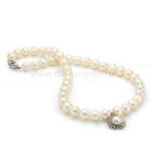 Ожерелье с кулоном из белого круглого речного жемчуга 9-10 мм. Артикул 9964