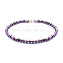 Ожерелье со стразами из черного круглого речного жемчуга 7,5-8 мм. Артикул 9968