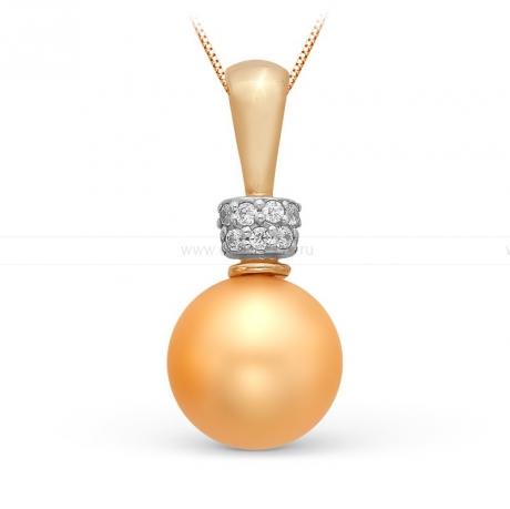 Кулон из желтого золота с золотой жемчужиной 9,5-10 мм. Артикул 9978