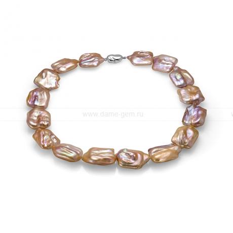 Колье (ожерелье) из розового жемчуга барокко 20 мм. Артикул 9986