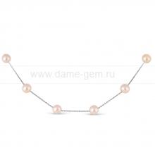 Цепочка из белого золота с розовыми жемчужинами. Артикул 9991