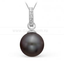 Подвеска из серебра с черной жемчужиной 8,5-9 мм. Артикул 9994