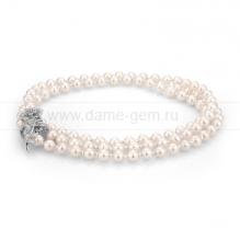 """Ожерелье """"Галстук"""" со вставками из белого круглого речного жемчуга 7-7,5 мм. Артикул 9999"""